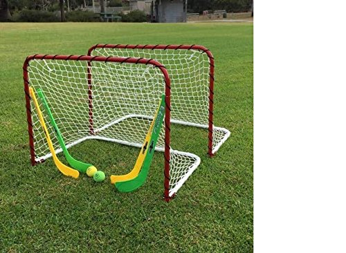 Functional and Durable Folding Double Metal Mini Hockey Goal Gift Set,Goals with Netting,Curved Slap Shot Mini Sticks,Goalie Sticks,Foam Balls,Safe and Convenient For Indoor or Outdoor - Hockey Goal Metal
