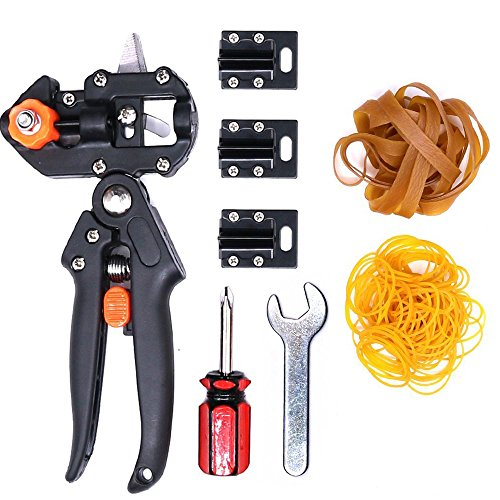 Rubber Cutting Tools (Glarks Professional Garden Fruit Tree Plant Pruning Shears Grafting Cutting Tool Kit with Rubber Bands)