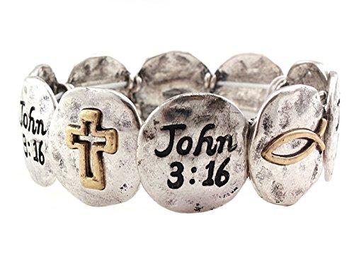 Mix&Match John 3:16 Christian Scripture Religious Stretch Bracelet (Silver)
