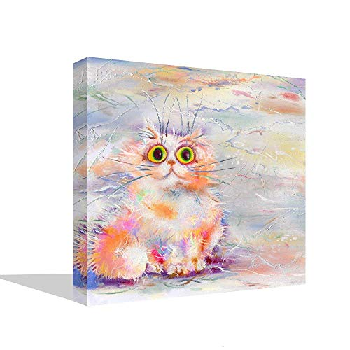 Colorful Cat Abstract Wall Art Picture Animal Home Decor House Decals for Bedroom Living Room Canvas Print Contemporary Painting Large Canvas Kitty Poster Framed Ready to Hang (20