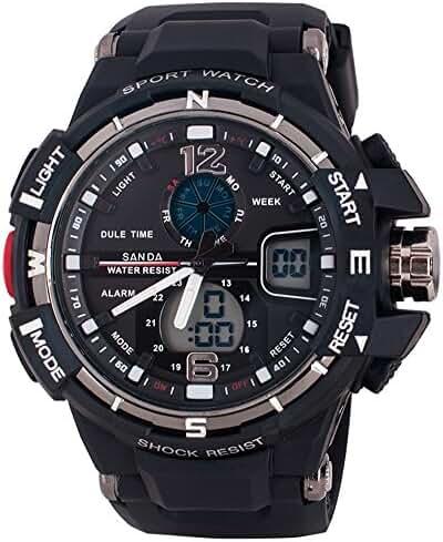 Multi-Function Sport Watch LED Digital Alarm GMT Time 50M Waterproof Anti-knock Sports Watches Black