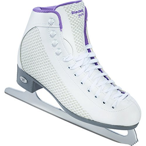 Skates Soft Boot Ice - Riedell 113 Sparkle / Womens Beginner/Soft Figure Ice Skates / Color: White and Violet / Size: 4