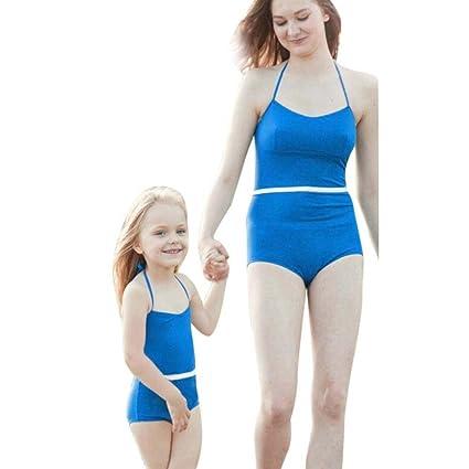Mother Daughter Swimsuit Women Kids Girls Swimwear Bathing Suit Bikini Beachwear
