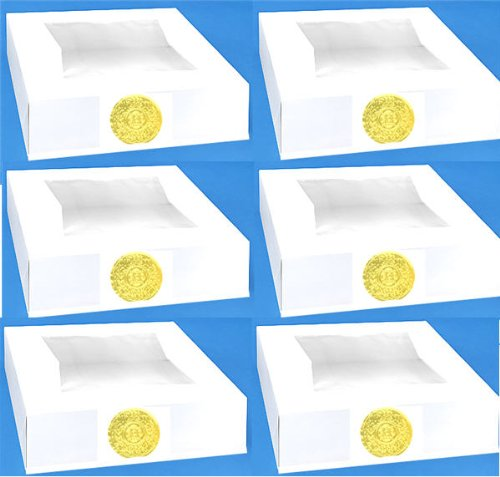 CakeSupplyShop Item# 67YH Strong Superior Quality 10x10x2.5 PIE & Cupcake Window Boxes with Gold Seal - 6pack