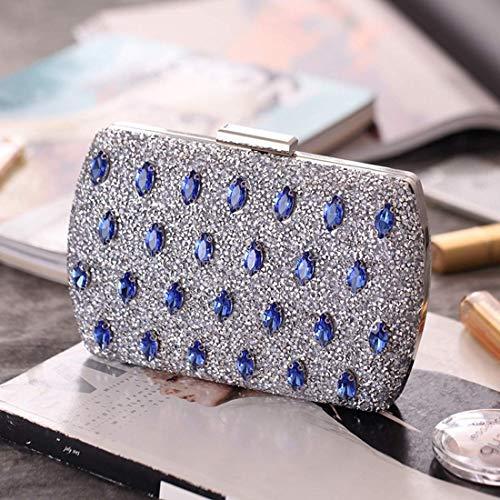 Sky Dress Silver Azul color Suave grow Banquet Diamantes Bolso Mujer Noche De Clutch Purse 7n8x7UO