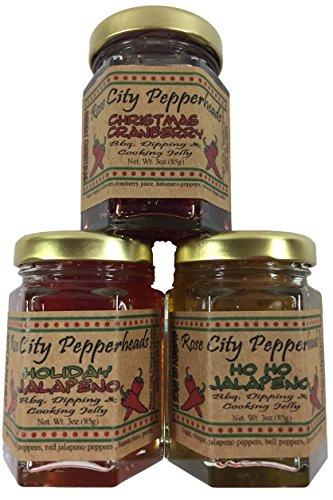 Holiday Trio Rose City Pepperheads Pepper Jelly - Mini Holiday Trio - Christmas, Hostess, Secret Santa, Birthday, Get Well Gift
