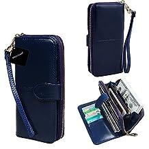xhorizon TM SR Women Large Capacity Leather Zipper Wallet Purse Wristlet Handbag with Removable Wrist Strap for iPhone SE/5/6/6 Plus/7/7 Plus Samsung S5/S6/S6Edge/S7/S7Edge + LG G3 G4 G5