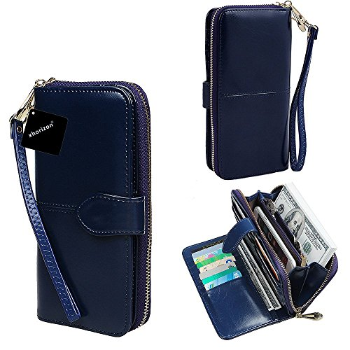 Price comparison product image xhorizon TM SR Women Large Capacity Leather Zipper Wallet Purse Wristlet Handbag with Removable Wrist Strap for iPhone SE/5/6/6 Plus Samsung S5/S6/S6Edge/S7/S7Edge + LG G3 G4 G5 (Blue)