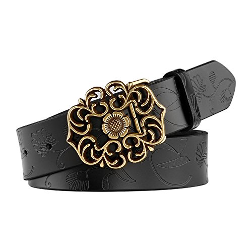 Whippy Western Fashion Leather Belts For Women With Vintage Hollow Flower (Fashion Western Buckle)