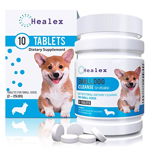 Healex 10 Tablets Small Dog (2-25lbs) Intestinal Cleanse | Dog Dewormer Alternative | Cleansing Tablets for Dogs, Promotes Intestinal Health | 10 Tablets, Works for Puppies | Helpful E-Book Included (Best Deworming Tablets For Dogs)