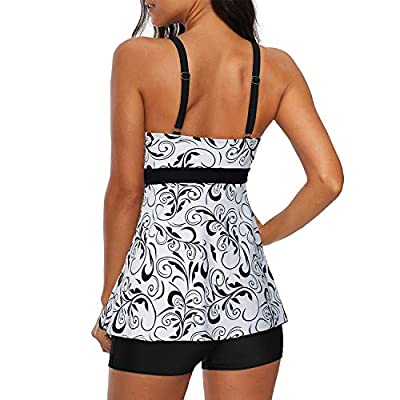 Zando Women's Slimming Tummy Control Swimdress Swimwear Long Torso Tankini Swimsuit Retro Skirt Swimming Suit for Women at Women's Clothing store