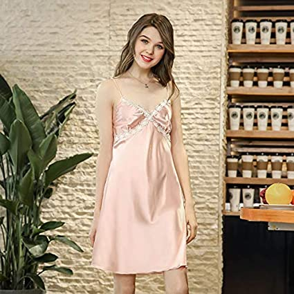 Zehaer Sleepwear Summer Simulation Silk Sexy Nightdress Ladies lace Home  Service (Color   Pink 1c33d25ae