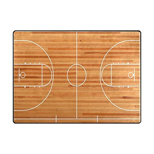 ALAZA Area Rug 7'x5' Basketball Court Parquet For Children Non-Slip Floor Mat Carpet for Living Dining Bedroom