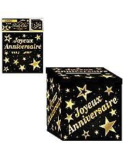 SLA Urne en Carton Joyeux Anniversaire Noir et doré