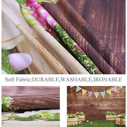 Allenjoy 7x5ft Fabric Spring Easter Backdrops for Girls Photography Wrinkle Free Happy Bunny Rabbit Green Grass Brown Wooden Wall Baby Shower Kids Newborn Portrait Background Photo Studio Shooting by Allenjoy (Image #3)