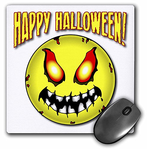 3dRose Mark Grace HALLOWEEN smiley face - ZOMBIE SMILEY FACE happy halloween 1 on white - MousePad (mp_54642_1) ()