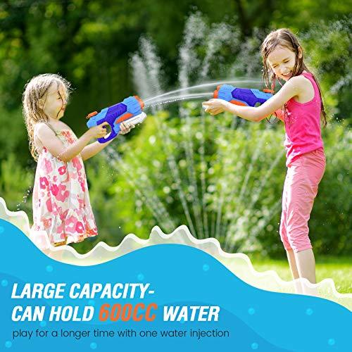 Kiztoys Wasserpistole Spielzeug Kinder Set 2 Stück 600ML Pool Wasserspritzpistolen mit Reichweite 27 Feet Sommer Wassersport, Garten und Strand Wasserpistolen für Kinder