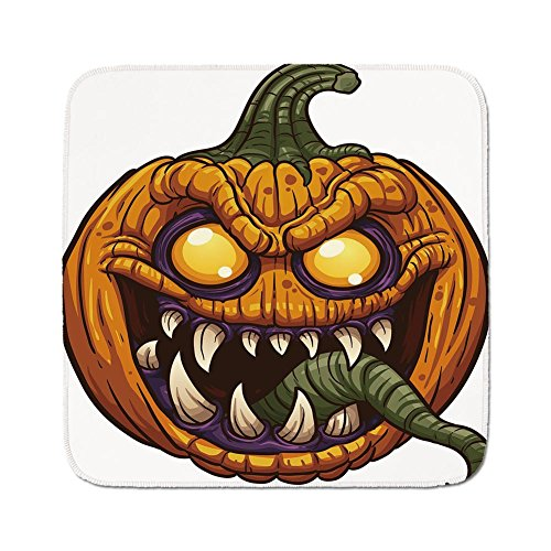 Cozy Seat Protector Pads Cushion Area Rug,Halloween,Scary Pumpkin Monster Evil Character with Fangs Aggressive Cartoon,Purple Orange Dark Green,Easy to Use on Any Surface -