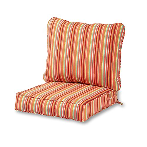 Greendale Home Fashions Deep Seat Cushion Set in Coastal Stripe, Watermelon (Seat Outdoor Deep Cushion)