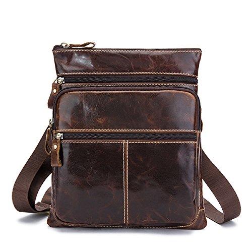 bolsas piel de día nbsp;Bolso bandolera noveno Casual El hombro vaca de hombres nbsp;– auténtica marrón Vintage Crossbody para EWg0BUqH