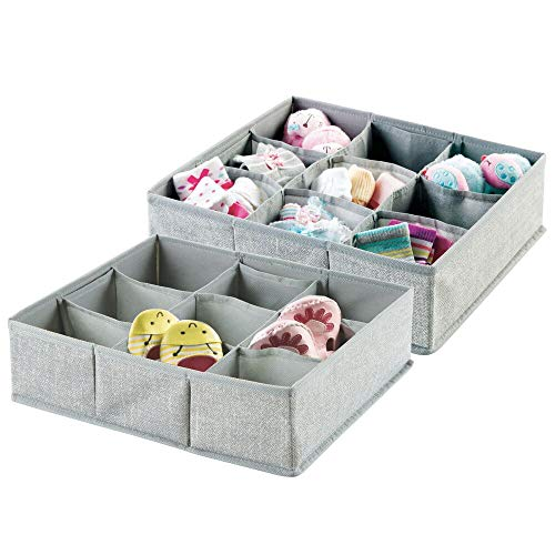 mDesign Soft Fabric 9 Section Dresser Drawer and Closet Storage Organizer for Child/Kids Room, Nursery, Playroom - Divided Large Organizer Bin - Textured Print with Solid Trim, 2 Pack - Gray