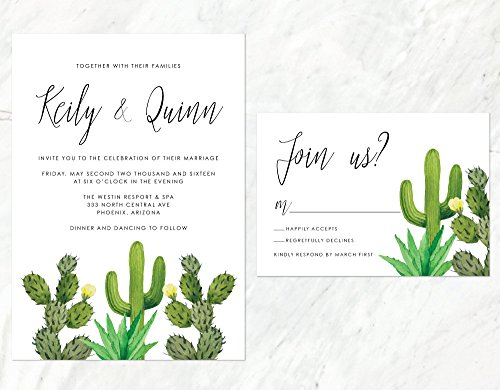 Cactus Wedding Invitation, Desert Wedding Invitation, Succulent Wedding Invite by Alexa Nelson Prints