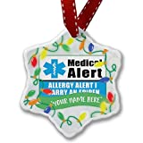 Personalized Name Christmas Ornament, Medical Alert Blue Allergy Alert 1 Carry an Epipen NEONBLOND