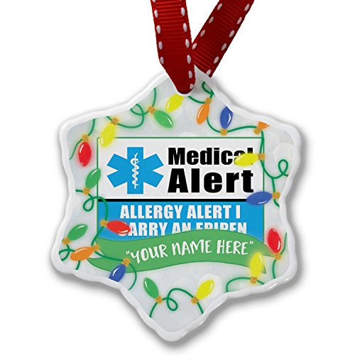 Personalized Name Christmas Ornament, Medical Alert Blue Allergy Alert 1 Carry an Epipen NEONBLOND by NEONBLOND