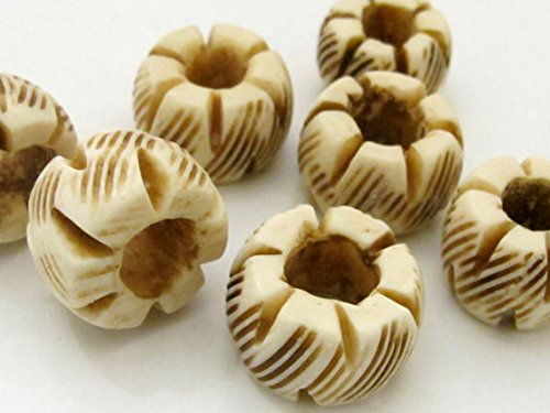 4 Beads- Large wide grooved Carved ethnic tribal bone beads 18 - 20 mm wide - HB063