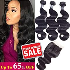 Hair Material:100% Unprocessed virgin Brazilian Human Hair,Collected from One Young Donor.Hair Extension Type:Machine double weft; Hair Texture:Brazilian Body Wave Human Hair with 4x4 Swiss Lace ClosureHair Weight&Length: Full Head Brazil...