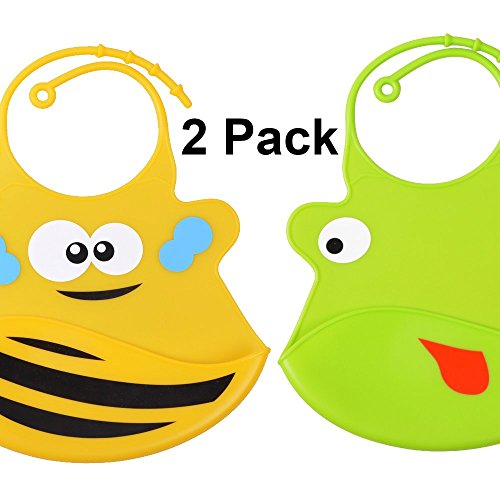 Baby Bibs: Silicone Waterproof Easily Wipes Clean! Cozy and Soft Bibs Keep Stains Off! Spend Less Time Cleaning after Meals with Toddlers or Babies! Set of 2 Colors (Light Green / (Yellow Baby Bib)