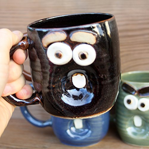 Ug Chug Yawning Mug. Handmade Stoneware Pottery Coffee Cup. 12 – 16 Ounce Ceramic Mug in Blue Green Red-Brown or Chocolate Black