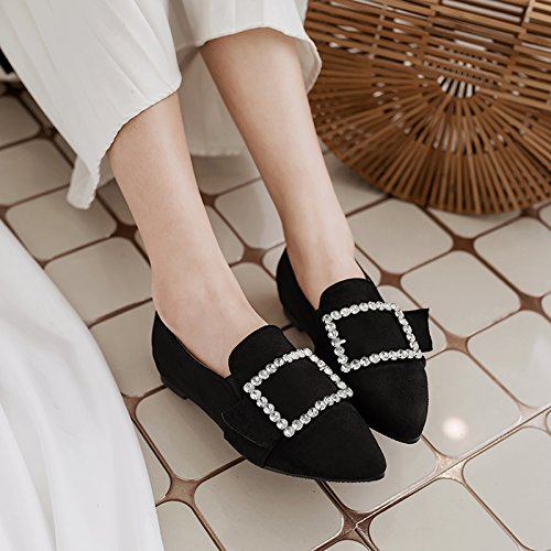 Slip Show Women's Black Toe Point Crystals Shoes On Shine Loafers xHUqHwF
