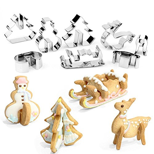 3D Christmas Cookie Cutters Set Stainless Steel Food Grade - Snowman, Christmas Tree, Reindeer, Sleigh - 8 Piece ()