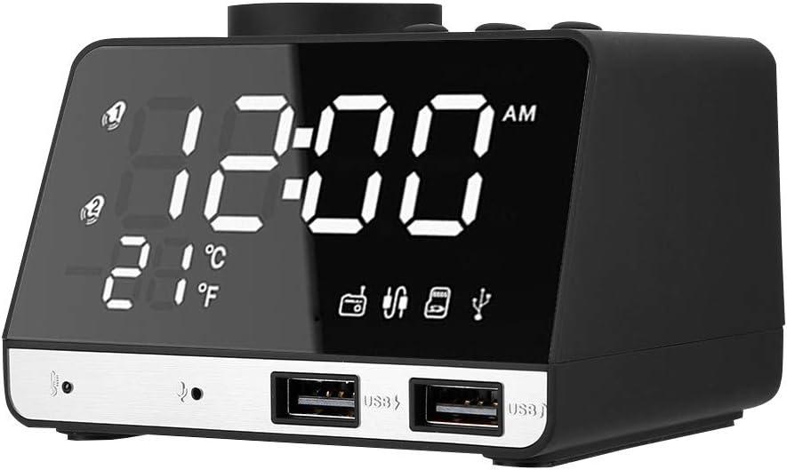 Reloj Despertador Inteligente Radio FM con Altavoz Bluetooth, Cargador USB Dual para iPhone y Android, luz Nocturna y Pantalla LED Azul, Buzzer/FM/TF para reproducción de música(UE 100-240v)