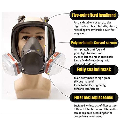 Yunge Full Face Respirator Gas Mask For 6800 Painting Spraying(15 in 1)Facepiece Respirator- Industrial Grade Quality by YungeEquipmentUS (Image #3)