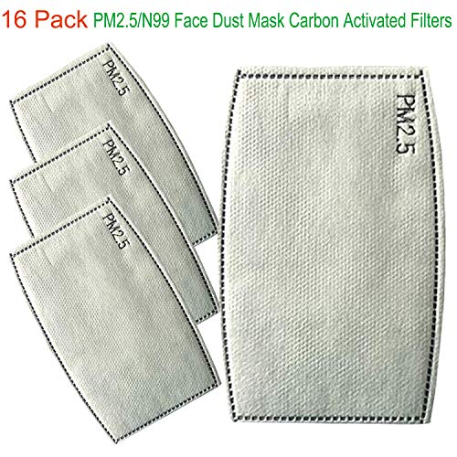 Dust Mask Filters-Compatible with N99 and N95 Mask-5 Layer Protective Activated Carbon Filter Replacement (16 Pcs)