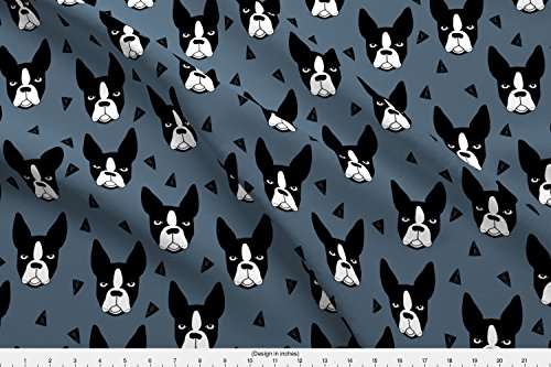 Spoonflower Boston Terrier Fabric Boston Terriers//Boston Terrier Dog Breed Blue Grey Kids Cute Dog Faces Dog Head Dogs Fabric by Andrea Lauren Printed on Kona Cotton Ultra Fabric by the Yard - Boston Terrier Fabric