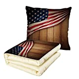 iPrint Quilt Dual-Use Pillow American Flag Decor USA Design on Vertical Lined Retro Wooden Rustic Back Glory Country Image Multifunctional Air-Conditioning Quilt Blue Red