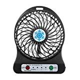 universal ac control system - Mini Air Fan,DEESEE(TM) Portable Rechargeable LED Fan air Cooler Mini Operated Desk USB 18650 Battery (Black(Not included Battery))