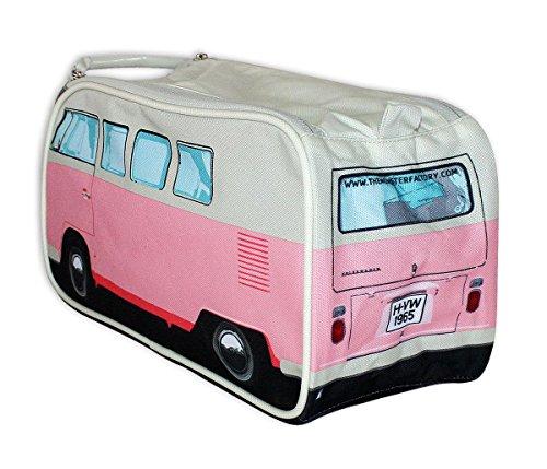 51uhGnJIA3L VW Bulli Kulturbeutel rosa mit Innenfächern - robuste Kosmetiktasche, Waschbeutel, Kulturtasche, Washbag (31 x 15 x 11…