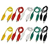 SODIAL(R) 10Pcs 5-Colors Double Ended Alligator Clips Test Lead Jumper Wire 50cm