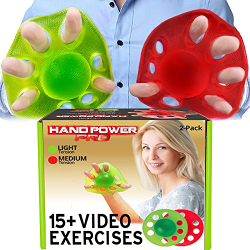 Pykal 2x Hand Exerciser Finger Strengtheners - 15+ VIDEO EXERCISES included with HAND POWER PRO | Finger Exerciser & Grip Strengthening For Arthritis, Carpal Tunnel, Computer Users, Rock Climbers by Pykal