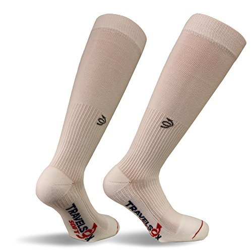 - Travelsox TSS6000 The Original Patented Graduated Compression Performance Travel & Dress Socks With DryStat OTC Pairs, White, Small