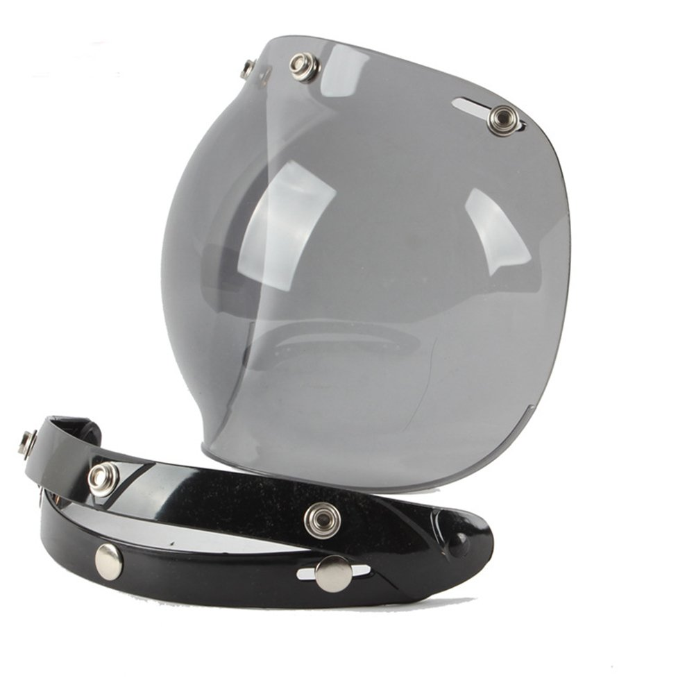 Motorcycle Retro Bubble Visor Wind Face Shield Lens Universal For 3-Snap Open Face Helmets(Light Smoke)