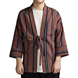 ZooBoo Japanese Kimono Dress Cardigan - Jinbei Shirt Vintage Traditional Autumn Harajuku Ancient Style Jacket ClothingRobe Costume for Women and Men - Hemp and Cotton (Red, L)