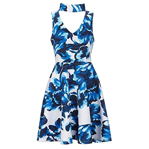 Rare Editions Big Girls Royal Blue Flower Print Fit-And-Flare Dress 14