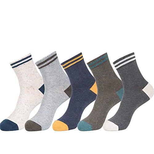 (Men's Cotton Casual Ankle Socks (Nep Yarn & Two Stripe - 5Pair))