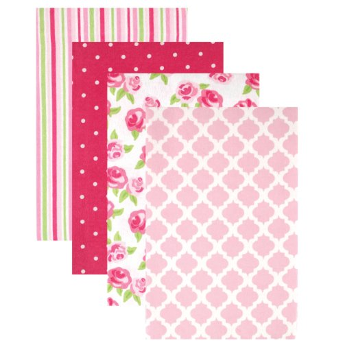 Hudson Baby Unisex Baby Cotton Flannel Receiving Blankets, 4-Pack, Rose, One Size