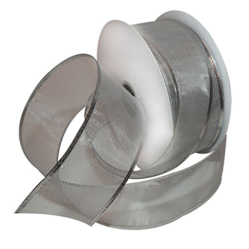 Wired Metallic Ribbon (Morex Ribbon Lustrous Wired Metallic Sheer Ribbon, 2-1/2-Inch by 50-Yard Spool, Silver)
